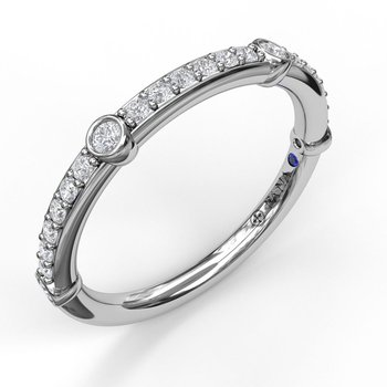 Bead Set Diamond Band with Bezel Stations