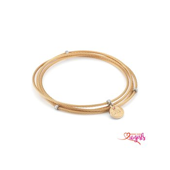 Rose Cable Affirmation Bangle with Pink Sapphire Hope Charm