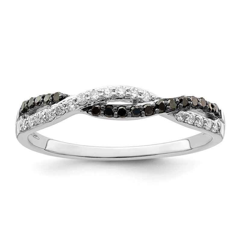 Quality Gold Sterling Silver Rhodium Plated Black & White Diamond Ring