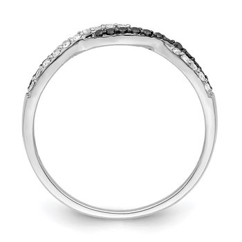Sterling Silver Rhodium Plated Black & White Diamond Ring