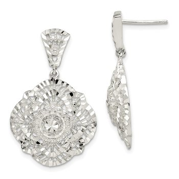Sterling Silver Diamond Cut Dangle Post Earrings