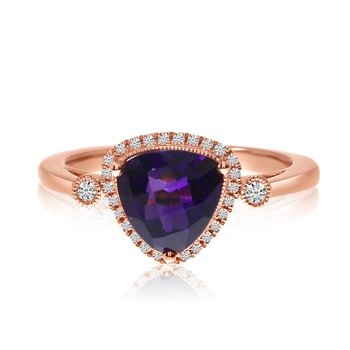 14k Rose Gold Amethyst Trillion and Diamond Ring