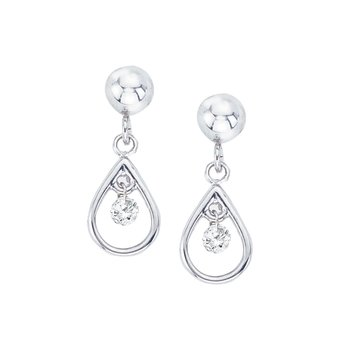 10k White Gold .10 ct Diamond Dashing Diamonds Drop Earrings