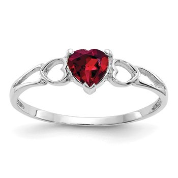 14k White Gold Rhodolite Garnet Birthstone Ring
