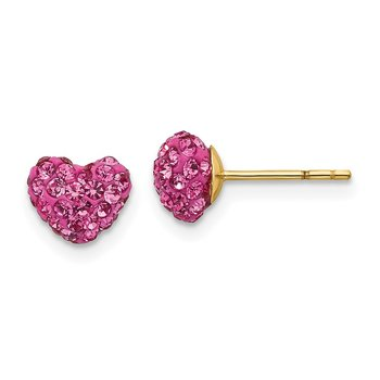 14k Madi K Post Multi Pink Crystal Heart Earrings