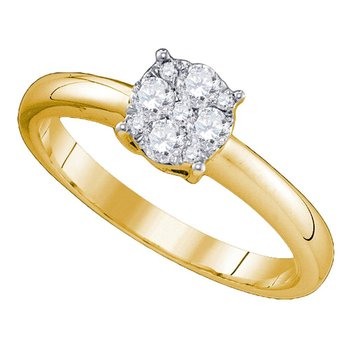 18kt Yellow Gold Womens Round Diamond Cluster Bridal Wedding Engagement Ring 3/4 Cttw