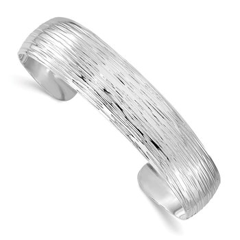 Leslie's Sterling Silver Polished and Textured Slip-on Bangle
