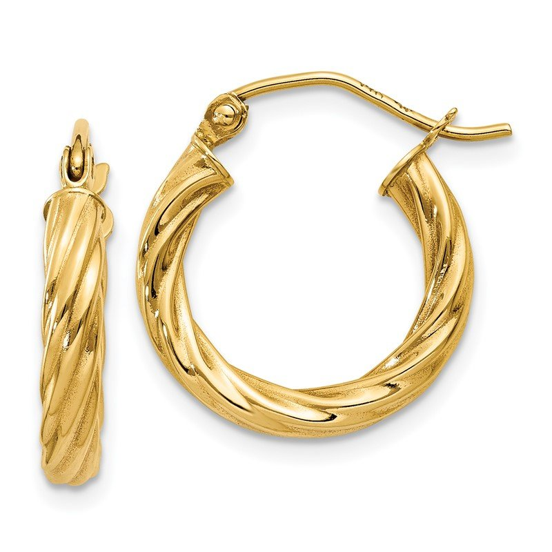 Quality Gold 14k Polished 2.75mm Twisted Hoop Earrings