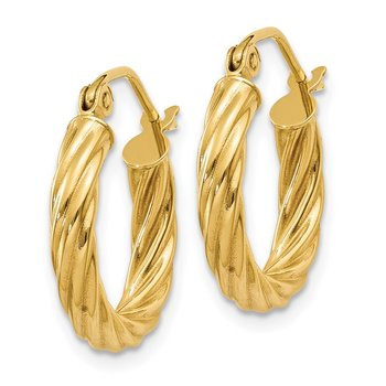 14k Polished 2.75mm Twisted Hoop Earrings