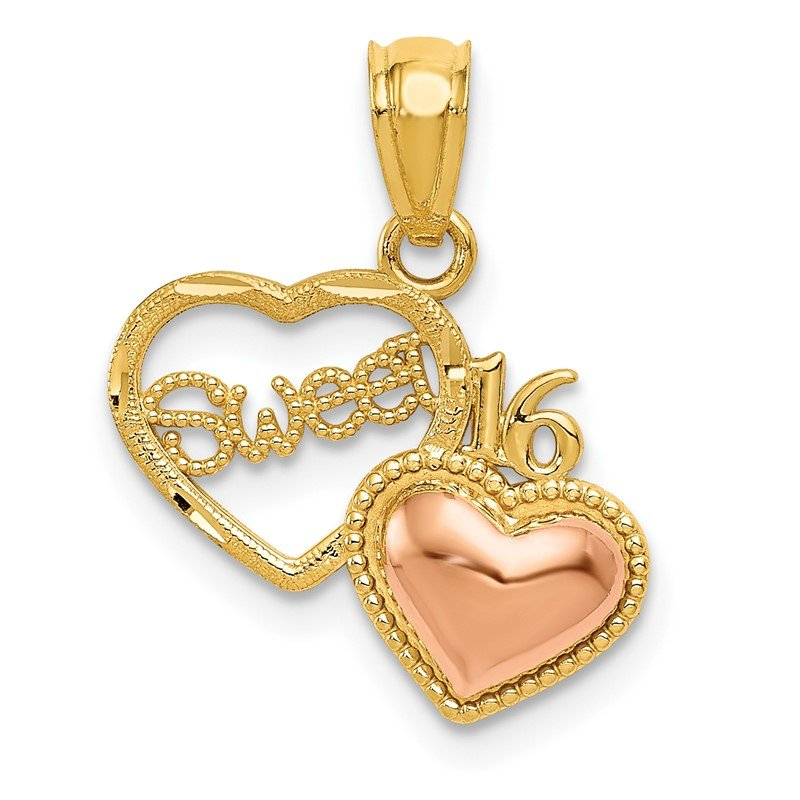 Quality Gold 14k Two-tone SWEET 16 Heart Pendant
