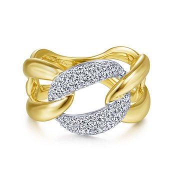 14K Yellow/White Gold Large Chain link Diamond Ring