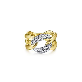 14K Yellow/White Gold Large Chainlink Diamond Ring