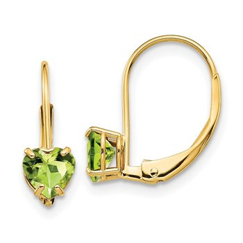 14k 5mm Heart Peridot Leverback Earrings