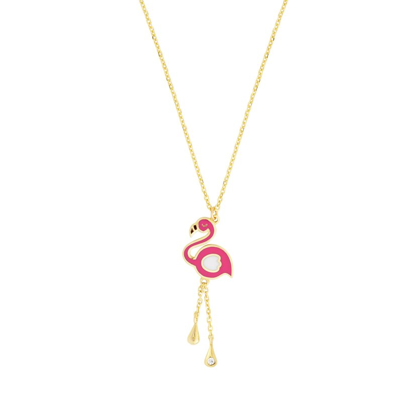 Royal Chain 14K Gold Enamel Flamingo Necklace