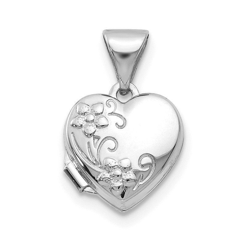 Quality Gold 14k White Gold Polished Heart-Shaped Floral Locket