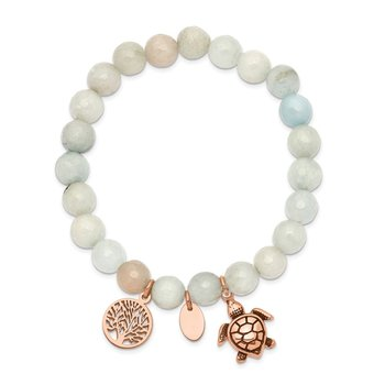 Stainless Steel Antiqued&Polished Rose IP Blue/Grey Dyed Jade Bracelet