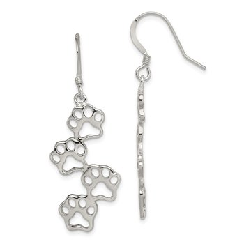 Sterling Silver Paw Prints Earrings