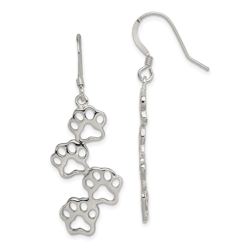 Quality Gold Sterling Silver Paw Prints Earrings