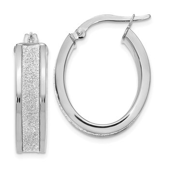 Leslie's 14K White Gold Fancy Glimmer Infused Oval Hoop Earrings