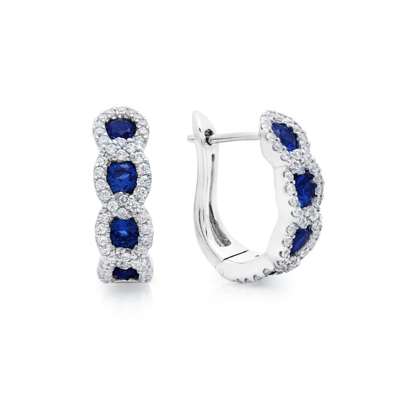 Fana Leave It To Fate Sapphire and Diamond Hoop Earrings