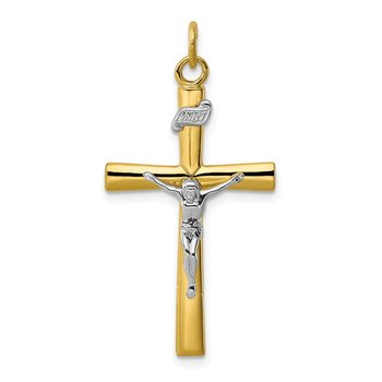 Sterling Silver Rhodium-plated & 18k Gold-plated Crucifix Pendant