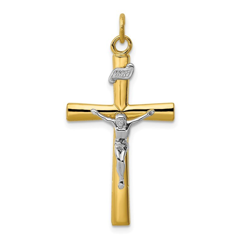 Quality Gold Sterling Silver Rhodium-plated & 18k Gold-plated Crucifix Pendant