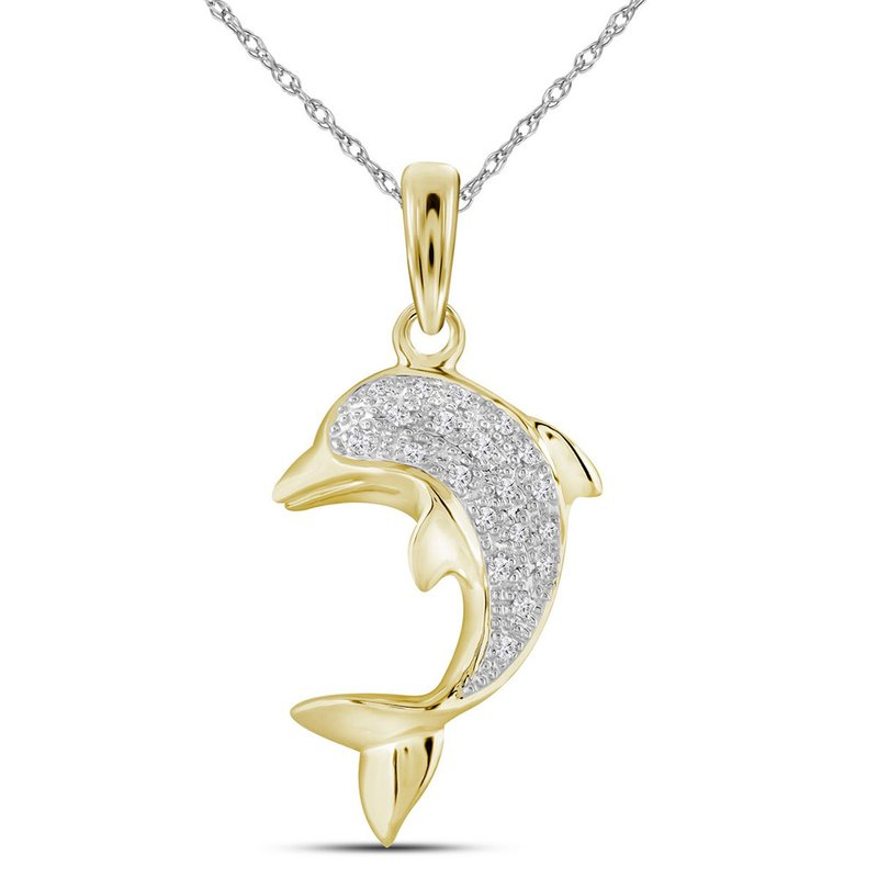 Kingdom Treasures 10kt Yellow Gold Womens Round Diamond Dolphin Nautical Animal Pendant 1/10 Cttw