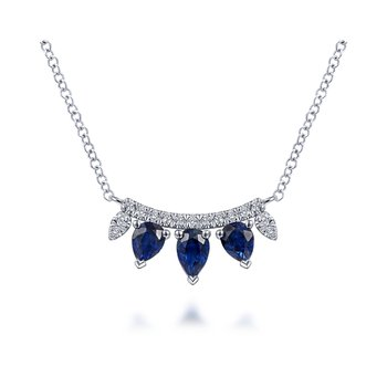 14K White Gold Pear Cut Sapphire and Diamond Bar Pendant Necklace