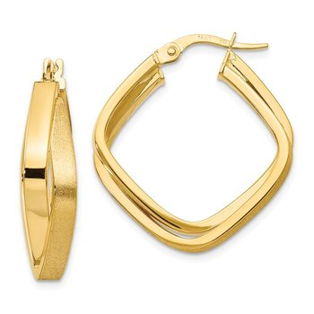 Leslie's 14k Polished & Scratch-finish Square Hoop Earrings