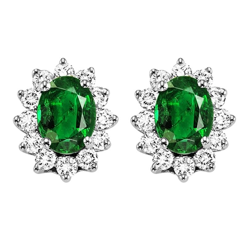Mixables 14K Emerald & Diamond Earrings
