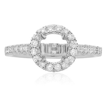 Round White Gold Engagement Setting
