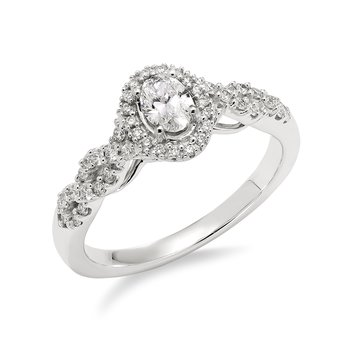 White gold & diamond oval enagement