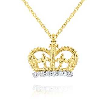 Gold and Diamond Crown Necklace