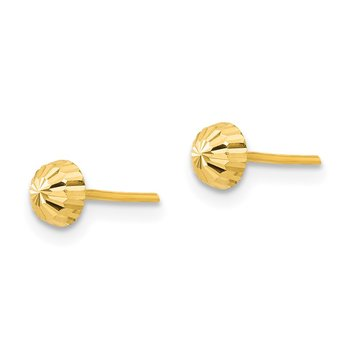 14k Madi K Diamond Cut 4mm Half-Ball Post Earrings