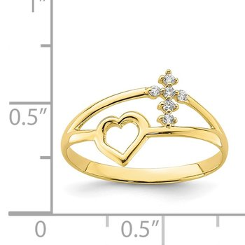 10K Heart And Cross CZ Ring