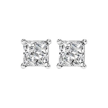 14K P/Cut Diamond Studs 5/8 ctw P1