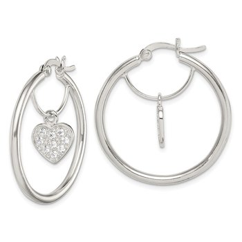 Sterling Silver CZ Heart Hoop Earrings