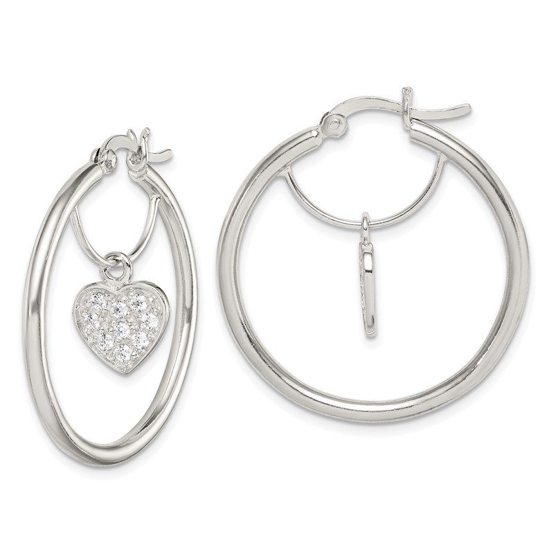 Quality Gold Sterling Silver CZ Heart Hoop Earrings