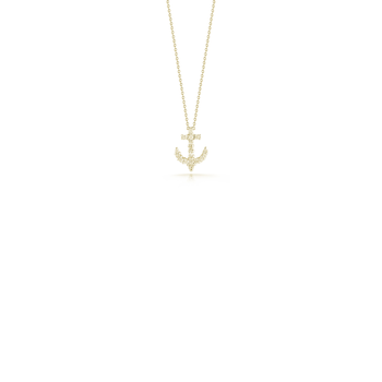 18KT YELLOW GOLD DIAMOND ANCHOR PENDANT