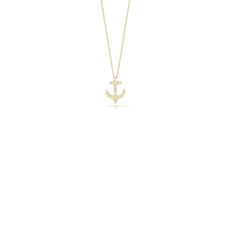 Roberto Coin 18Kt Yellow Gold Diamond Anchor Pendant
