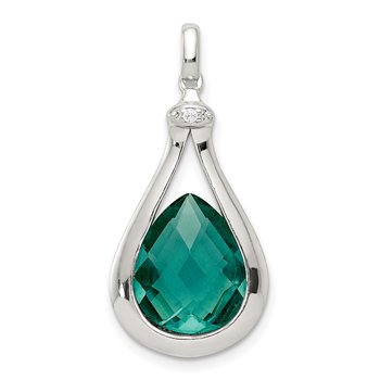 Sterling Silver Polished with Green Glass and CZ Pendant