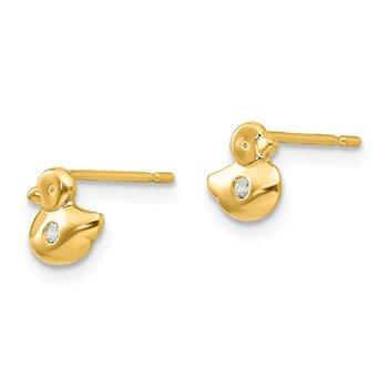 14k Madi K CZ Children's Duck Post Earrings