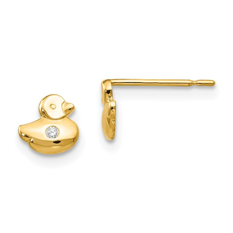 JC Sipe Essentials 14k Madi K CZ Children's Duck Post Earrings