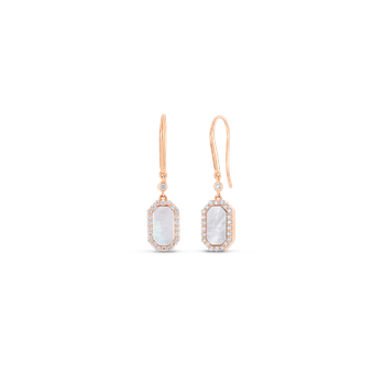 18Kt Gold Art Deco Drop Earrings With Diamonds And Mother Of Pearl