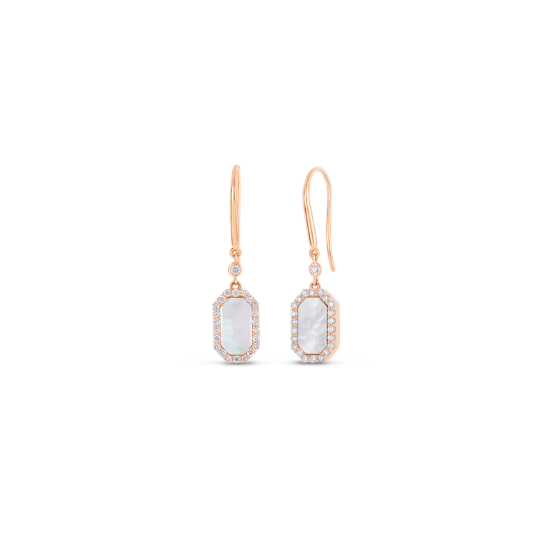 Roberto Coin 18KT GOLD ART DECO DROP EARRINGS WITH DIAMONDS AND MOTHER OF PEARL