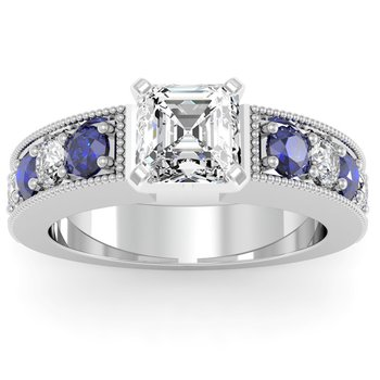Milgrain Pave Diamond & Sapphire Engagement Ring