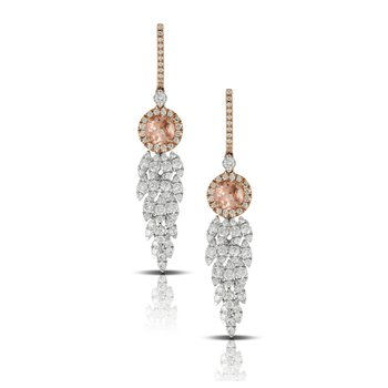 Rose Morganite & Diamond Earrings 18K