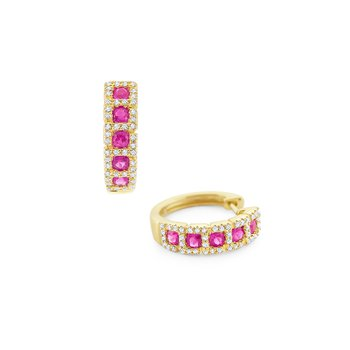 Pink Sapphire & Diamond Mini Hoop Earrings Set in 14 Kt. Gold