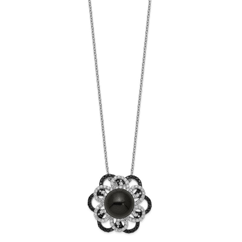 Sterling Silver Majestik Rh-pl 12-13mm Blk Shell Blk/Wht CZ Necklace
