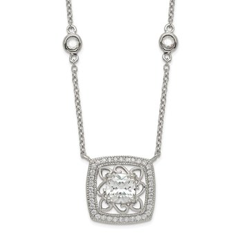 Sterling Silver Square CZ Pendant w/2in. ext. 4-Station Necklace